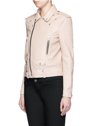 Front View - Click To Enlarge - SAINT LAURENT - Asymmetric zip front leather motorcycle jacket