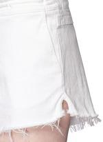 Frayed drawstring denim shorts