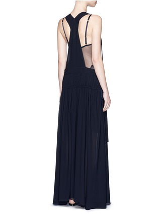 Back View - Click To Enlarge - Chloé - Open back crepe dungaree tier maxi dress