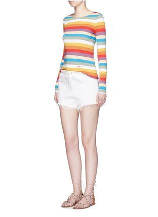 模特儿示范图 - 点击放大 - CHLOÉ - 彩色条纹拼色纯棉上衣