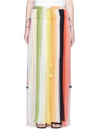 CHLOÉ-彩虹拼色百褶真丝半身裙