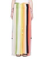 彩虹拼色百褶真丝半身裙
