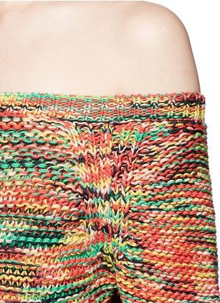 Chloé-Off-shoulder tassel drawstring hem chunky knit top