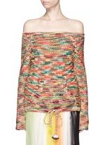 Off-shoulder tassel drawstring hem chunky knit top