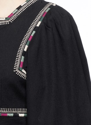 Detail View - Click To Enlarge - Isabel Marant - 'Siloe' embroidered cotton twill bell sleeve top