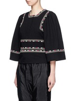 'Siloe' embroidered cotton twill bell sleeve top
