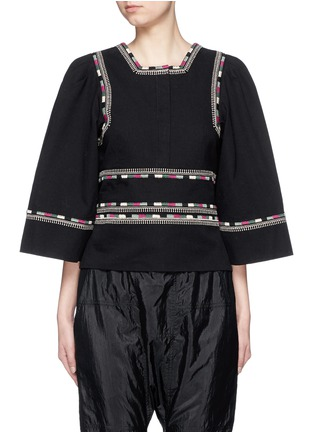 Main View - Click To Enlarge - Isabel Marant - 'Siloe' embroidered cotton twill bell sleeve top