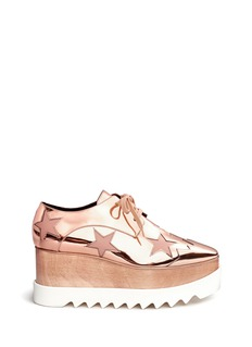 Stella McCartney 'Elyse' mirror star appliqué wood platform Derbies