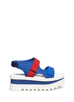 Main View - Click To Enlarge - Stella McCartney - Colourblock strap platform sandals