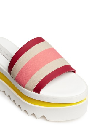 Detail View - Click To Enlarge - Stella McCartney - Stripe band slide platform sandals