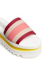 Stripe band slide platform sandals