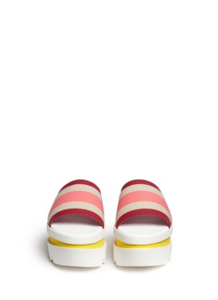 Front View - Click To Enlarge - Stella McCartney - Stripe band slide platform sandals