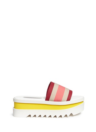Main View - Click To Enlarge - Stella McCartney - Stripe band slide platform sandals