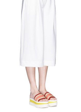 Figure View - Click To Enlarge - Stella McCartney - Stripe band slide platform sandals
