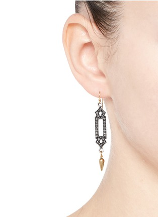Figure View - Click To Enlarge - Lulu Frost - 'Symmetry' glass crystal pavé cutout charm drop earrings