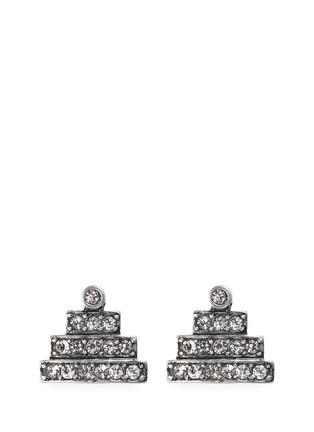 Lulu Frost-'Crystaline' glass crystal pavé pyramid stud earrings
