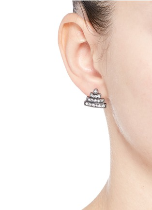 Figure View - Click To Enlarge - Lulu Frost - 'Crystaline' glass crystal pavé pyramid stud earrings