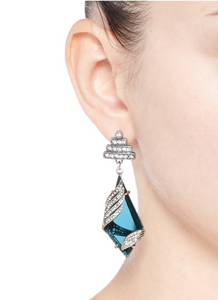 Figure View - Click To Enlarge - Lulu Frost - 'Reflection' pavé Montana glass crystal drop earrings