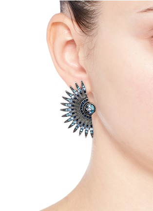 Figure View - Click To Enlarge - Lulu Frost - 'Beacon' glass crystal pavé fan stud earrings