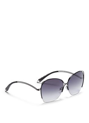 模特儿示范图 - 点击放大 - VICTORIA BECKHAM - FINE WAVE金属半框太阳眼镜