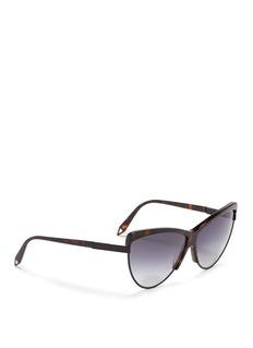 VICTORIA BECKHAM'Combination Cat' tortoiseshell effect acetate metal rim sunglasses