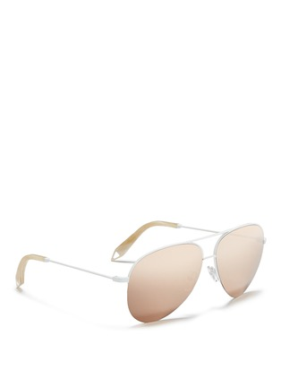 Figure View - Click To Enlarge - Victoria Beckham - 'Classic Victoria' 18k gold plated mirror aviator sunglasses