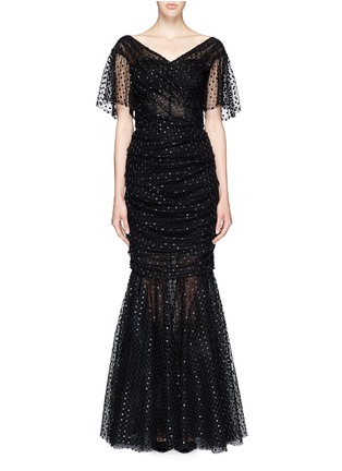 Main View - Click To Enlarge - Dolce & Gabbana - Macramé mesh lace mermaid hem gown