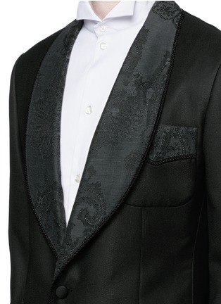 Detail View - Click To Enlarge - Dolce & Gabbana - Lace jacquard wool-silk tuxedo blazer