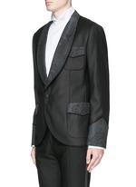 Lace jacquard wool-silk tuxedo blazer