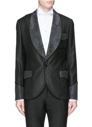 Main View - Click To Enlarge - Dolce & Gabbana - Lace jacquard wool-silk tuxedo blazer