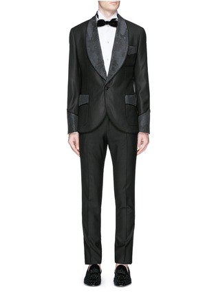 Figure View - Click To Enlarge - Dolce & Gabbana - Lace jacquard wool-silk tuxedo blazer