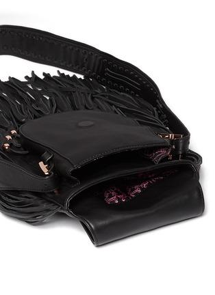 Detail View - Click To Enlarge - THOMAS WYLDE - Skull rivet fringe leather satchel