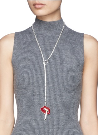 Figure View - Click To Enlarge - Lynn Ban - Smoking lips lariat necklace