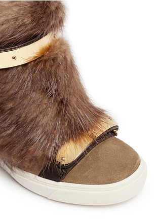 Detail View - Click To Enlarge - Giuseppe Zanotti Design - 'Lorenz' fur suede wedge sneakers