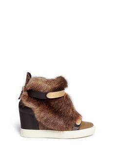 GIUSEPPE ZANOTTI DESIGN'Lorenz' fur suede wedge sneakers