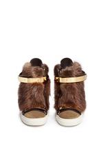 'Lorenz' fur suede wedge sneakers