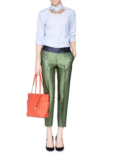 J. CREW Collection cropped pants in jade jacquard