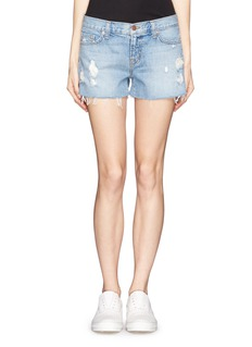 J BRAND Ripped cut-off denim shorts
