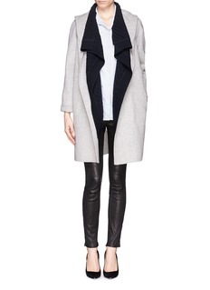 VINCE Wool-cashmere basketweave drape front cardigan