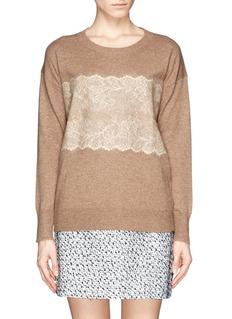 J. CREWFloral lace appliqué sweater