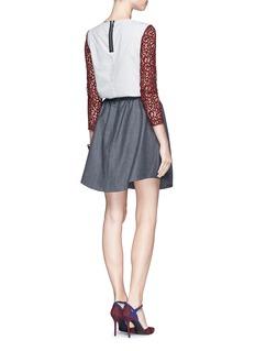 CARVENStripe poplin back lace blouse
