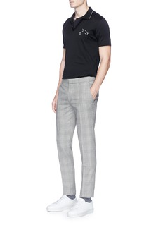 Lanvin Smiley face arrow embroidered jersey polo shirt
