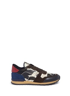 Valentino 'Rockrunner' camouflage patchwork leather sneakers