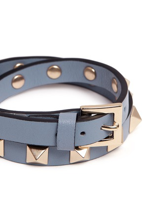 Detail View - Click To Enlarge - Valentino - 'Rockstud' skinny leather bracelet