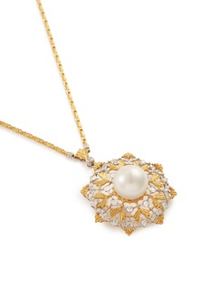 BUCCELLATI Diamond pearl 18k yellow gold star openwork pendant necklace