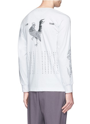 Back View - Click To Enlarge - Saam1 - Rooster and cockscomb embroidered Henley shirt