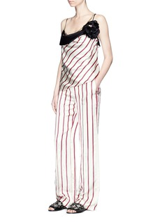 Lanvin Chain and flower brooch stripe satin top