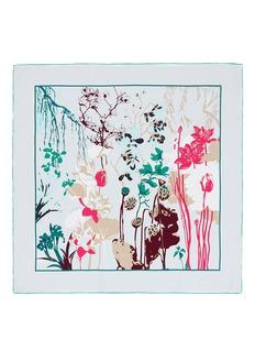 SHANG XIA植物图案真丝方巾