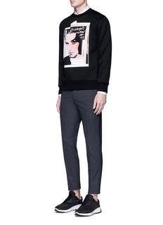 Neil Barrettx Interview 'Eddie Taylor' hybrid print sweatshirt