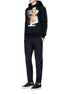 Neil Barrettx Interview 'Rocky Elton' hybrid print hoodie